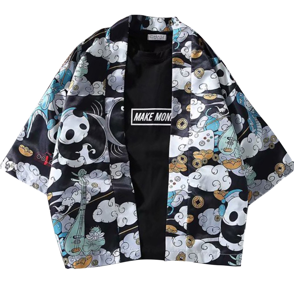Men Women Sunscreen Loose Dark Color Printing Kimono Cardigan Shirt 1921 dark floral black_S