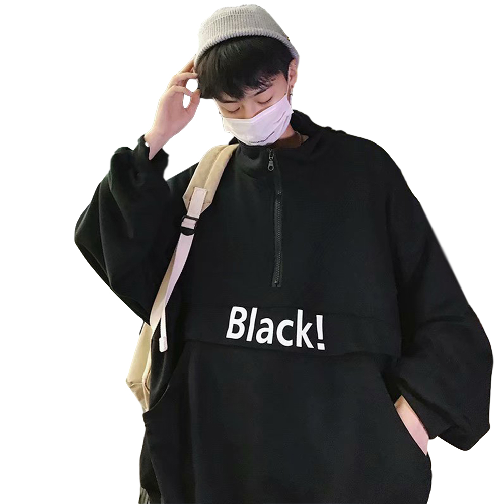Men's Hoodie Autumn and Winter Loose Pullover Letter Printing Jacket Black _XL