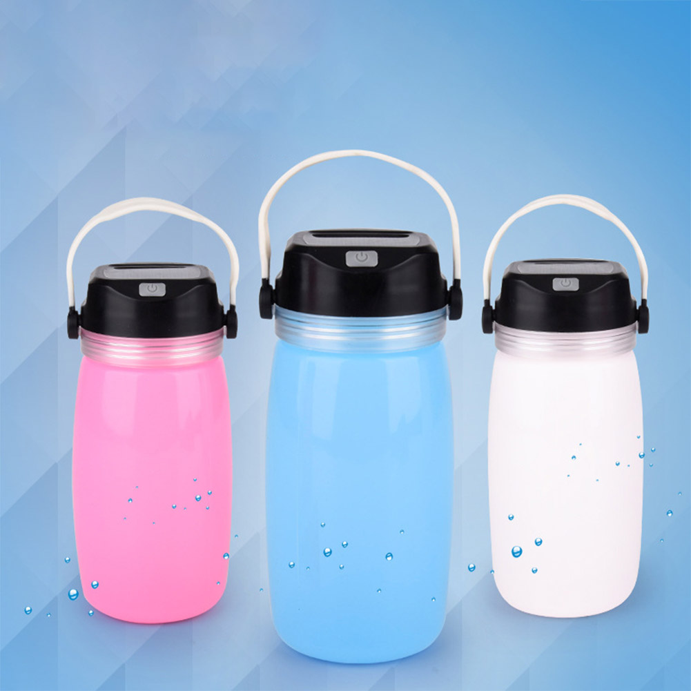 Outdoor Solar Power Silicone Camping Lamp LED Water Cup Lamp blue