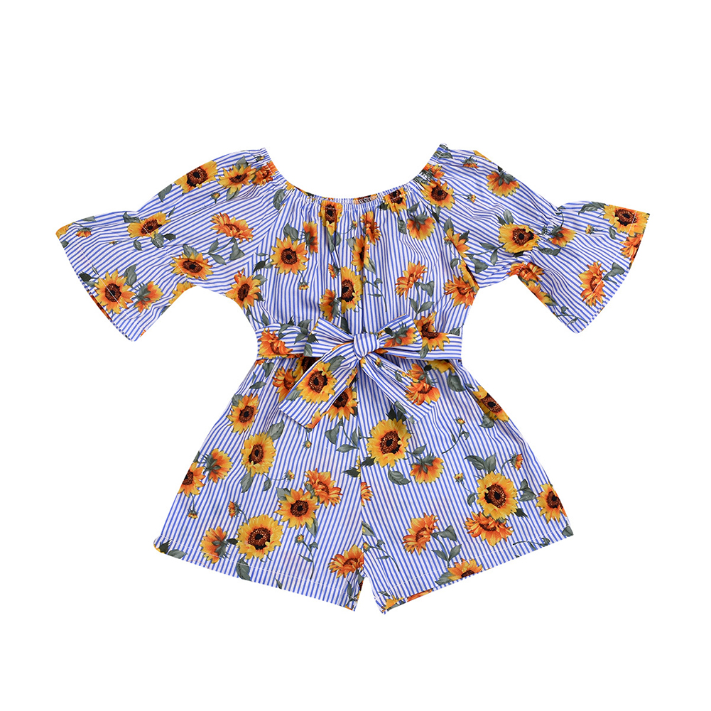 Girls Summer Cute Jumpsuit Baby Print Bows Climbing Romper  Sunflower stripes_100