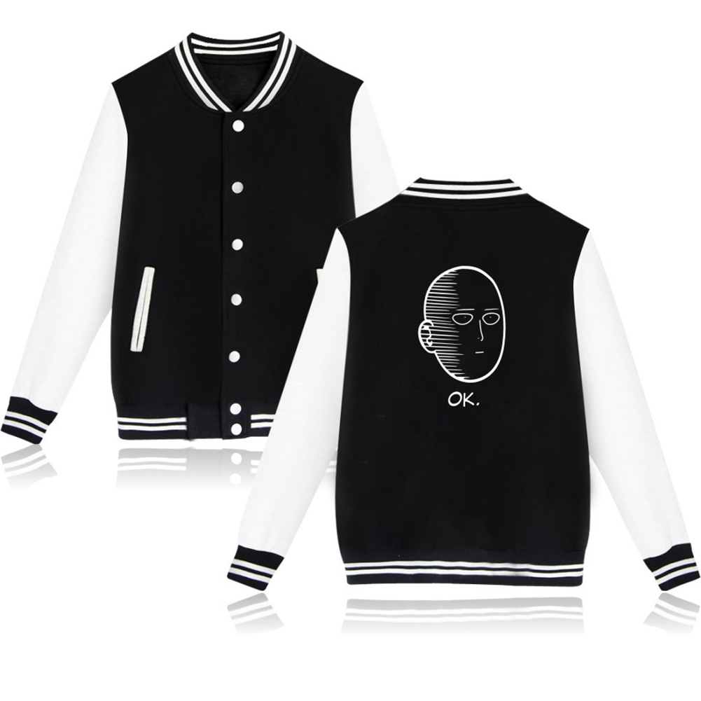 Autumn Winter Fashion Printing Baseball Uniform Coat LF-107ab-1 black_XL