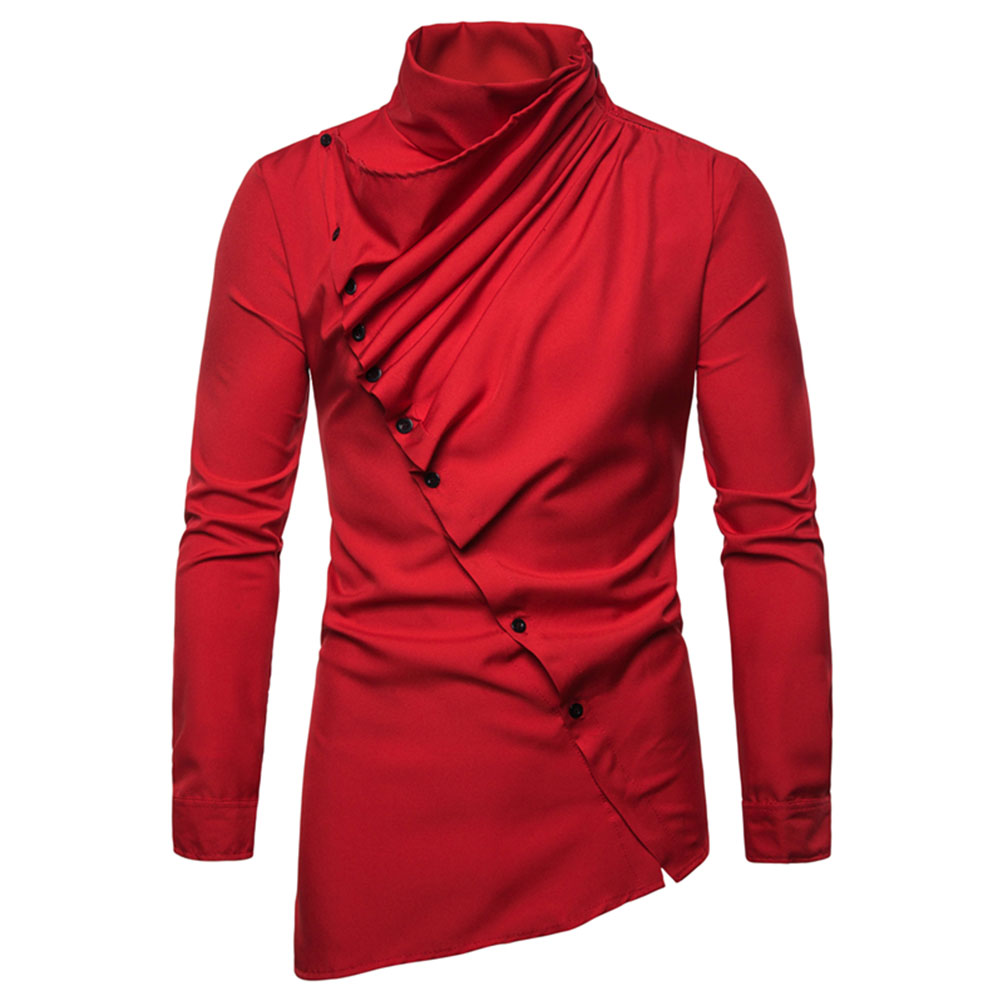 Men's Shirt Asymmetric Oblique Placket Stand-up Collar Long-sleeved Shirt Red _M