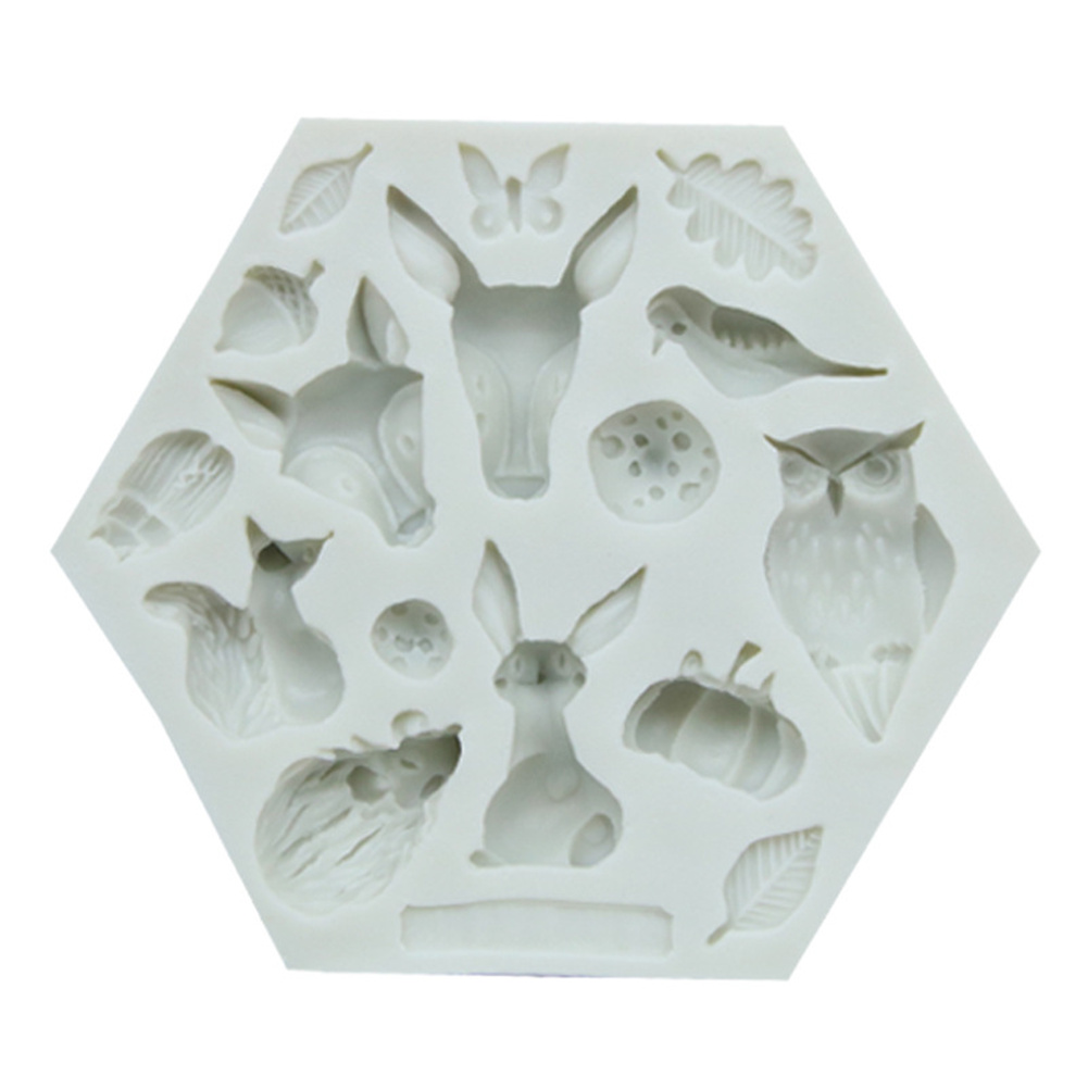Cute Forest Animal Mould Silicone Molds Woodland Cake Decorative Mold Tools Kitchen Accessories 952 gray