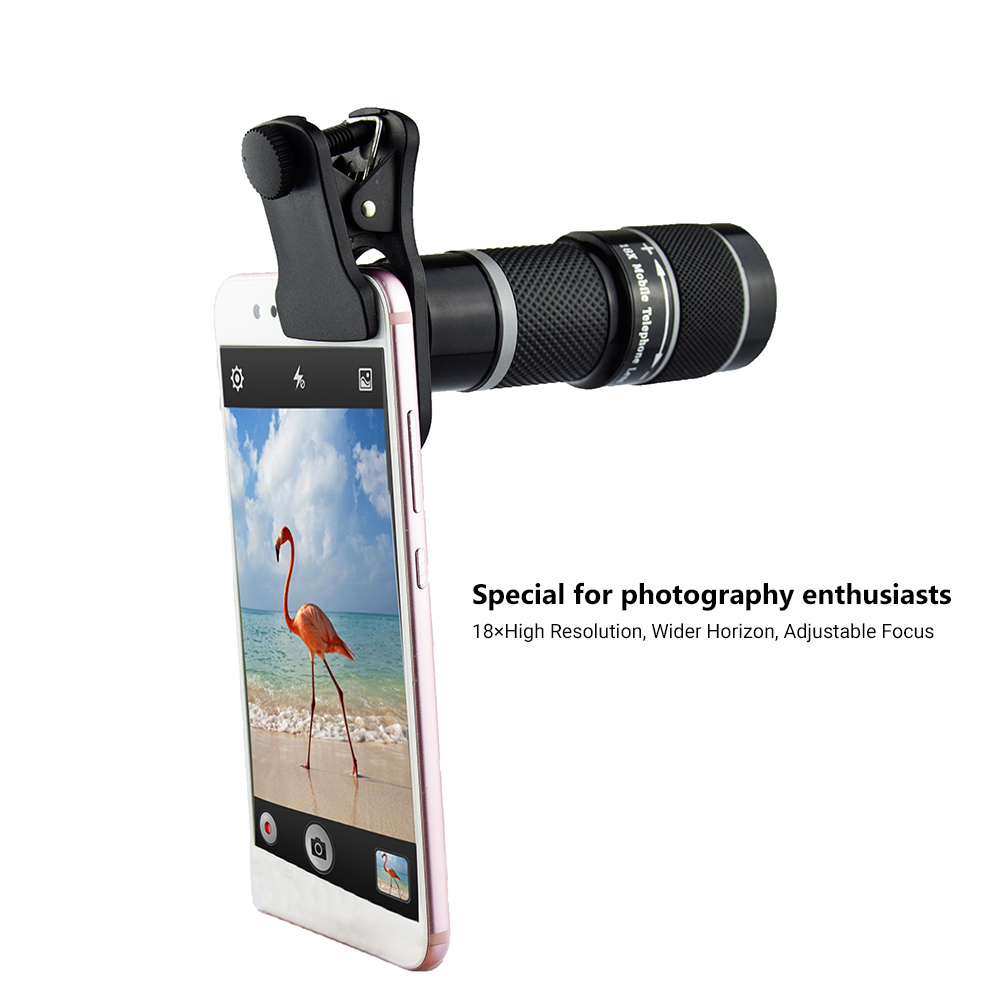 18x Telephoto Lens Phone Camera Lens 6.2 Degree Wide Angle Lens for iPhone Samsung  Gray standard