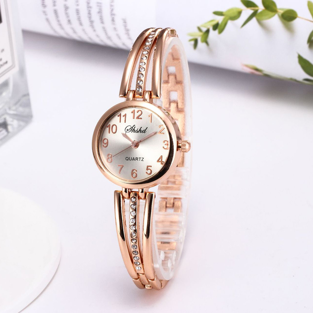 Ladies Women Fashion Bracelet Electronic Watch Simple Artificial Diamond Wristwatch Gold