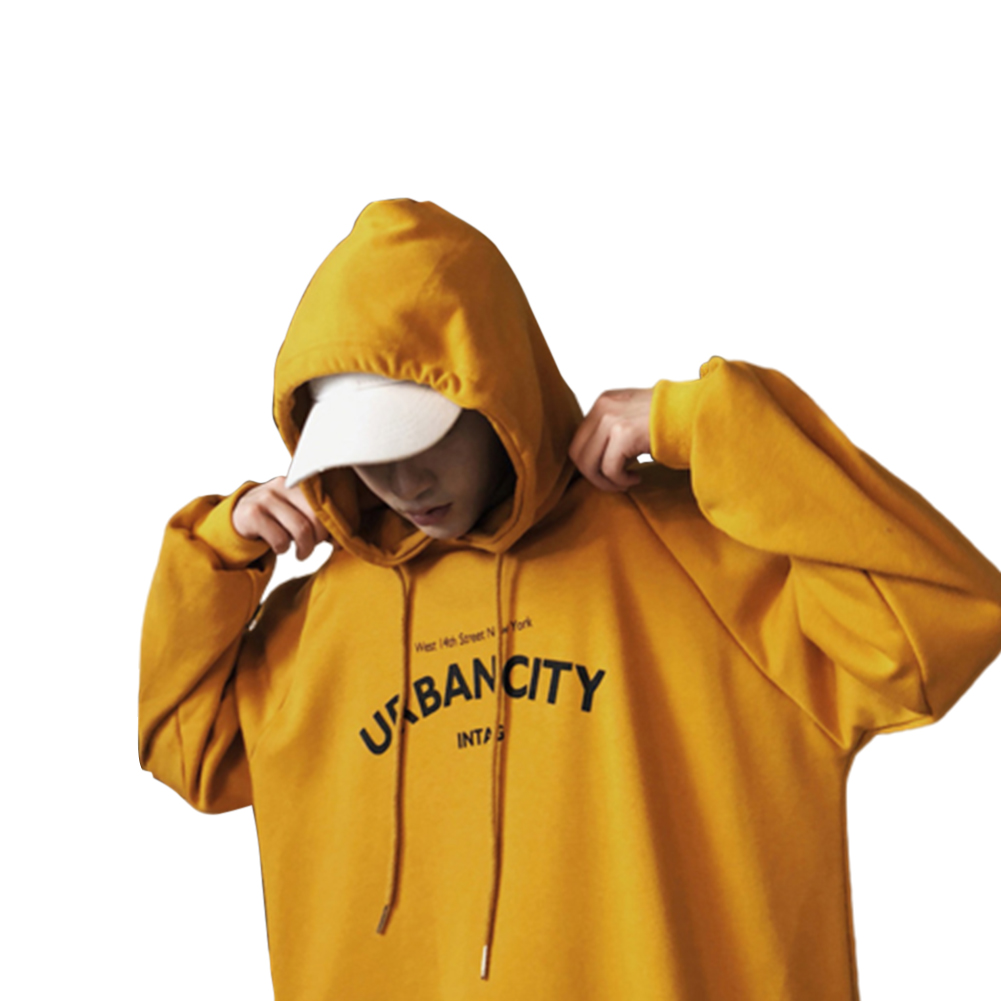 Men Hoodie Boy Hooded Top Casual Daily Wear Loose Edition Sportswear Jogging Clothing yellow_M