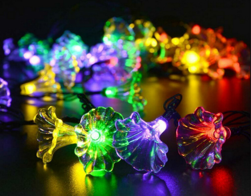 6M 30LEDs Morning Glory Shape Solar Powered String Light with Stent Color light_(ME0004703)