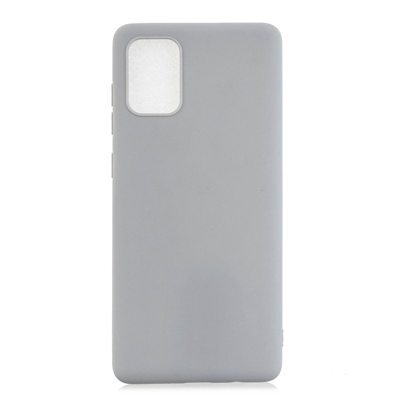 For Samsung A01/ A11/A21/A41/A51/A71/A81/A91 Mobile Phone Case Lovely Candy Color Matte TPU Anti-scratch Non-slip Protective Cover Back Case 12 gray
