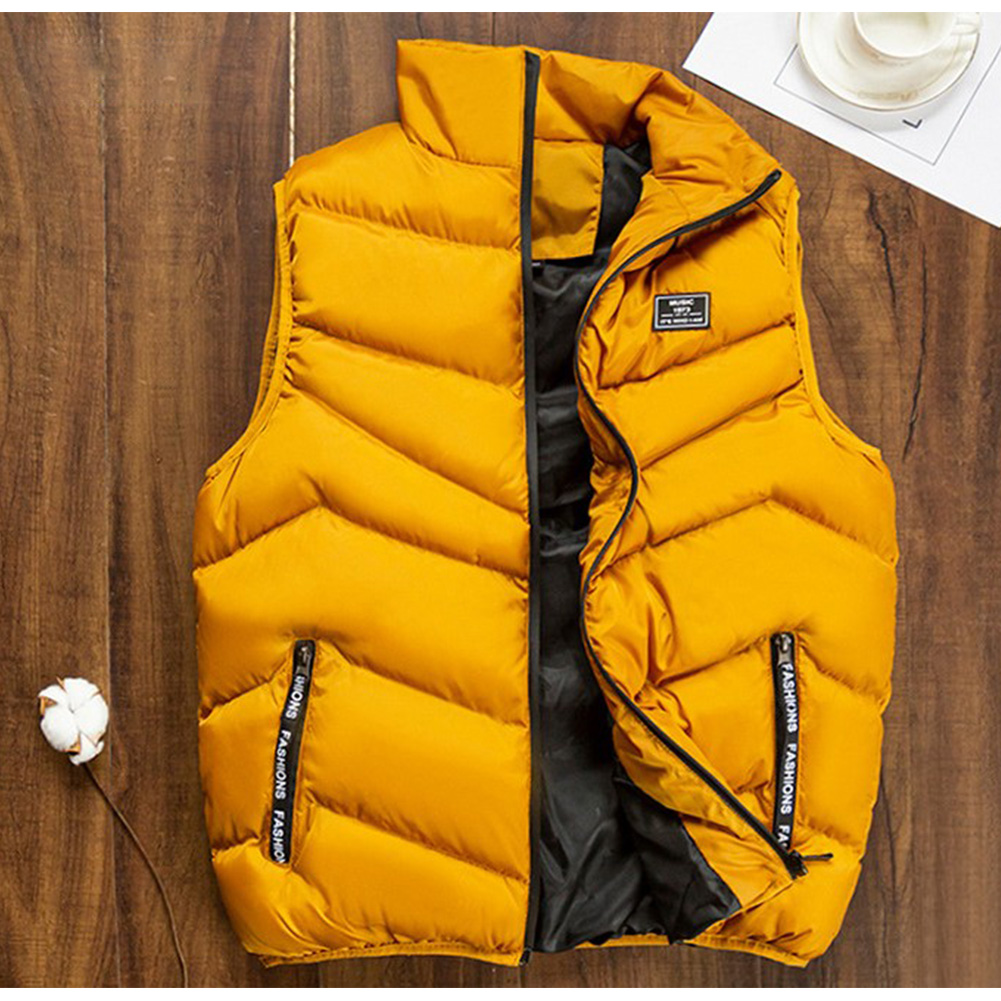 Casual Vest Men Winter Jackets Thick Sleeveless Coats Male Warm Cotton-Padded Waistcoat yellow_XXXL