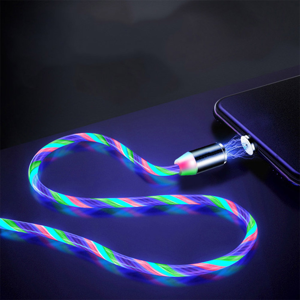 Data Line LED Magnetic Micro USB Cable Android Type-C IOS Fast Charging Cable for Mobile Phone color_Ios interface