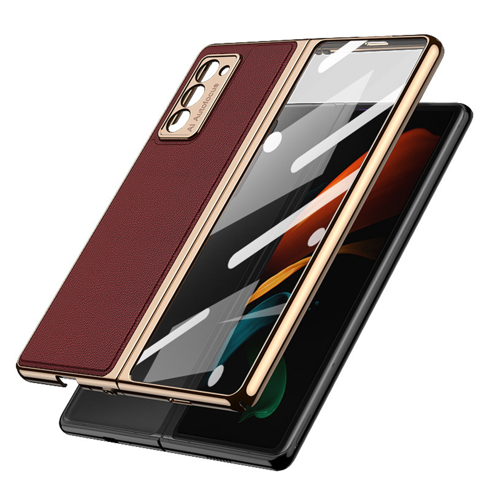 For Samsung  Z  Fold2 Mobile  Phone  Cover Pu All-inclusive Anti-drop Leather Folding Tempered Glass Screen Protector Red wine