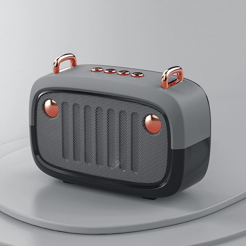 Wireless Bluetooth Speaker Cartoon Portable Insert Card Electroplate Speaker Silver gray