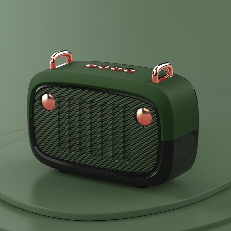 Wireless Bluetooth Speaker Cartoon Portable Insert Card Electroplate Speaker Army green