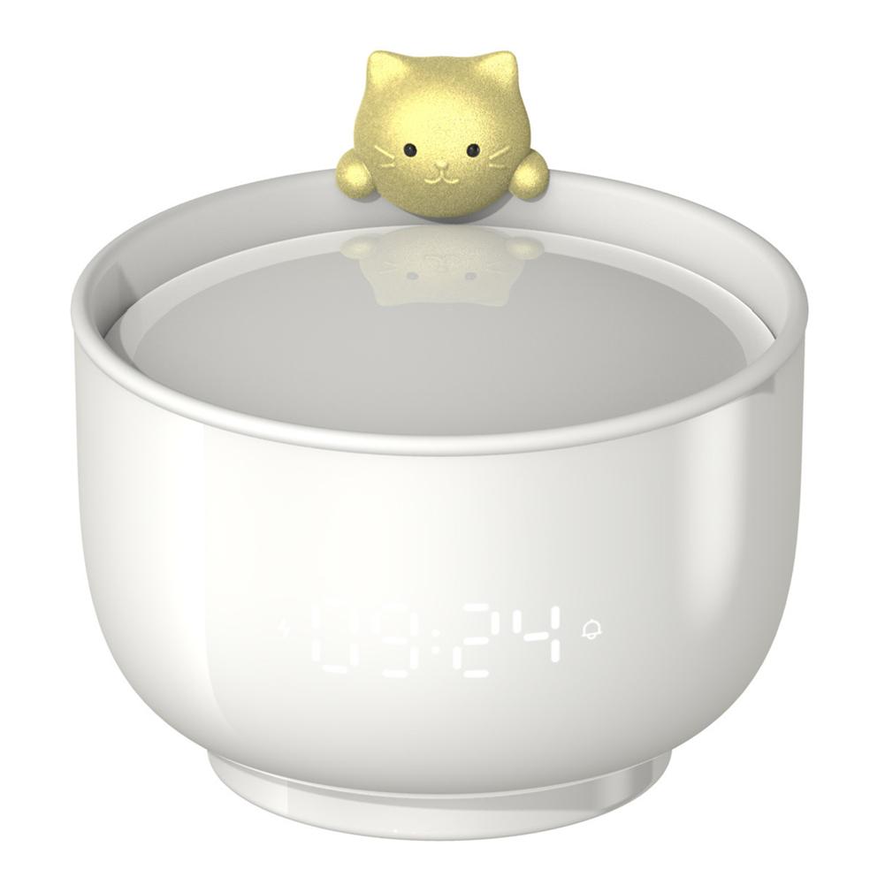 Student Alarm  Clock Sound-activated Led Light Time Display Children Cartoon Cat Alarm Clock white