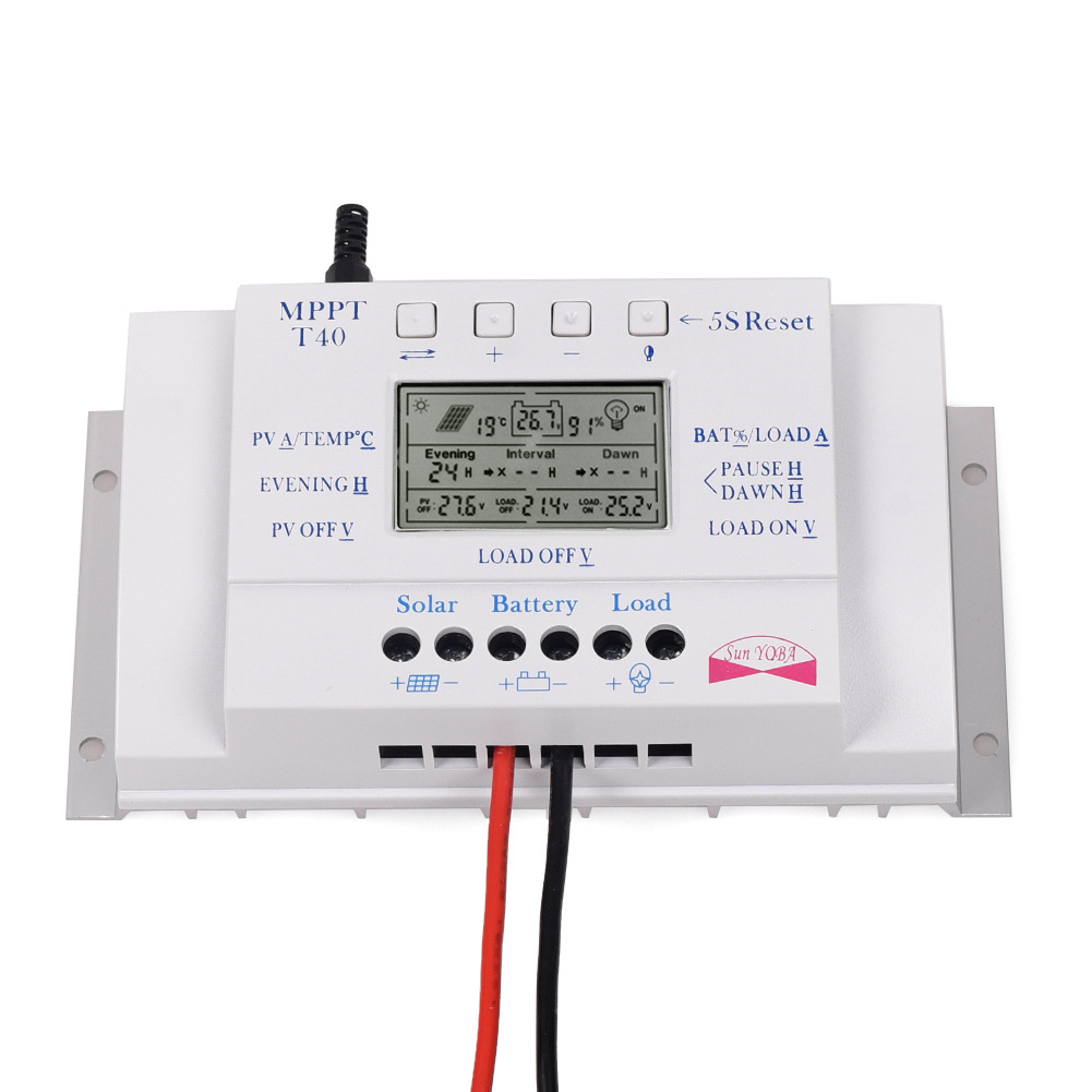 LCD 10/ 20/30 / 40A 12V / 24V MPPT Solar Panel Regulator Charge Controller 3 Timer