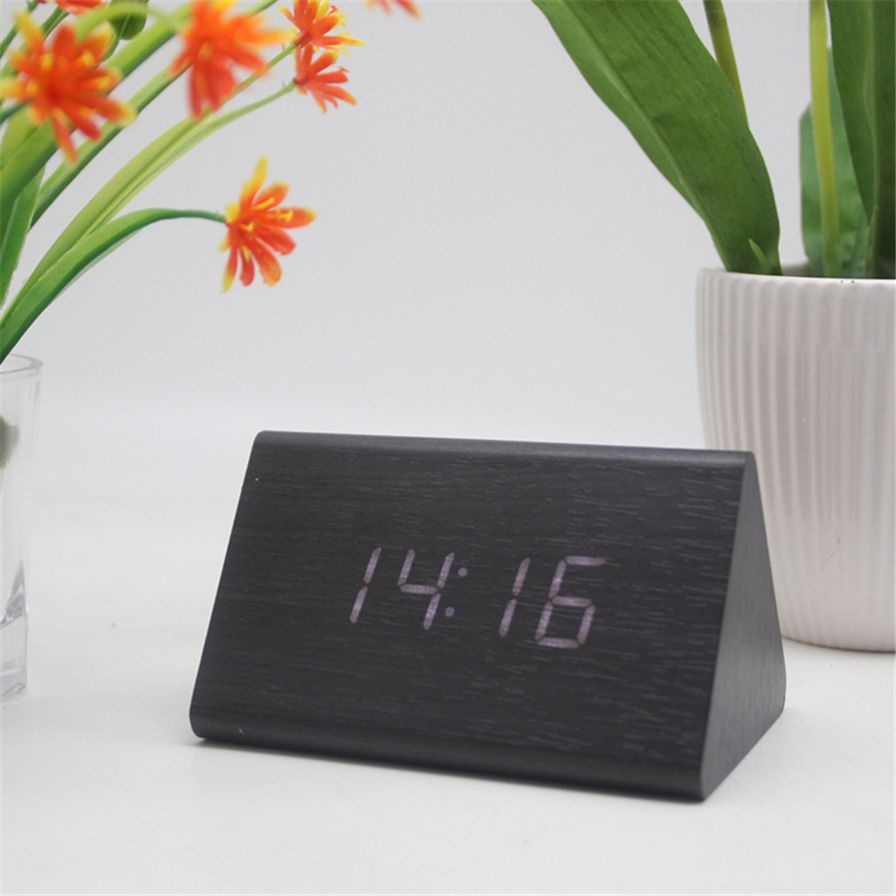 Multifunctional Wooden Alarm  Clock Luminous Silent Clock With Smart Led Display Black wood white