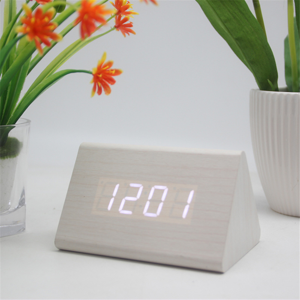 Multifunctional Wooden Alarm  Clock Luminous Silent Clock With Smart Led Display White wood white