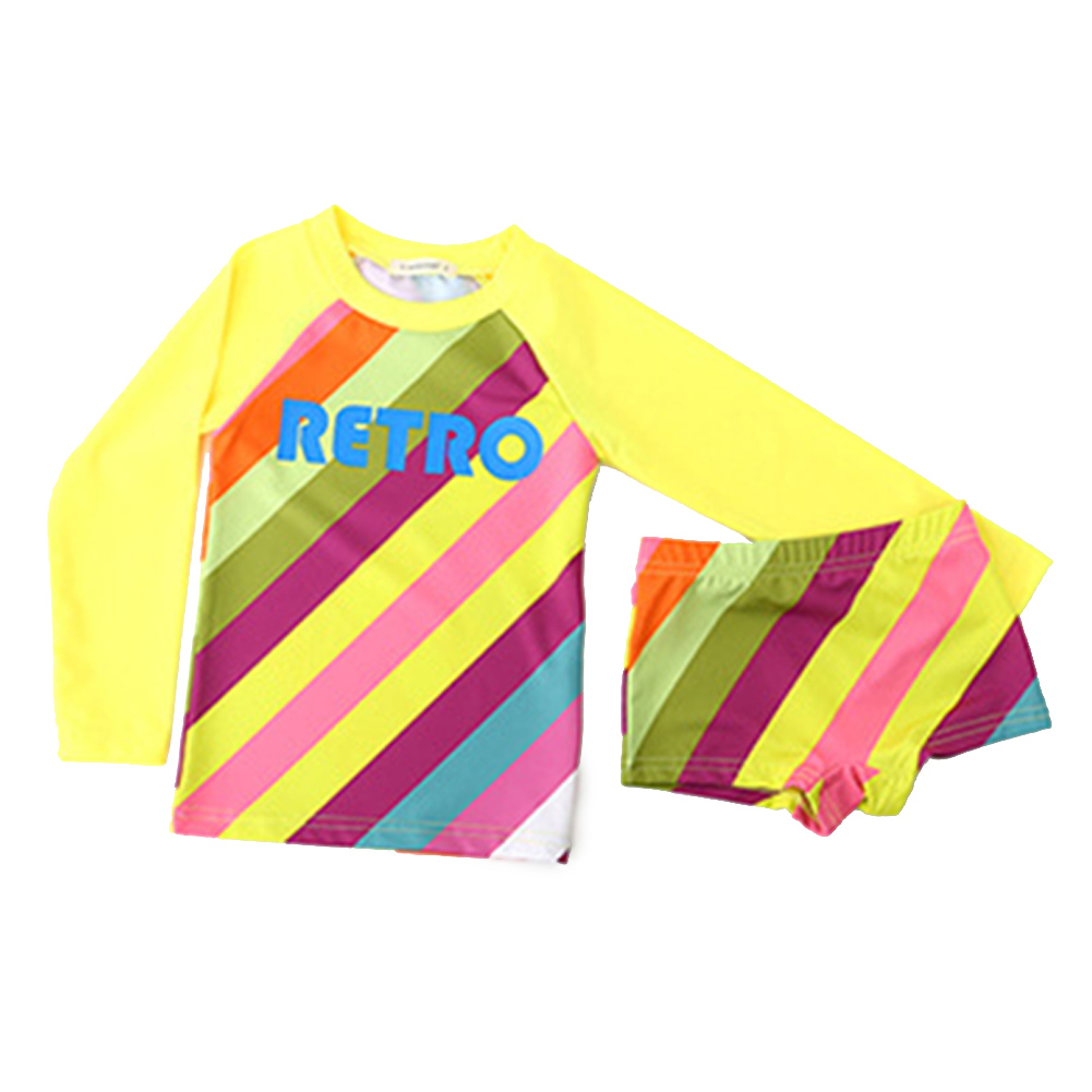 Kids Girls Quick Dry Long Sleeve Top Shorts Muslim Sunscreen Swimwear Set yellow_L