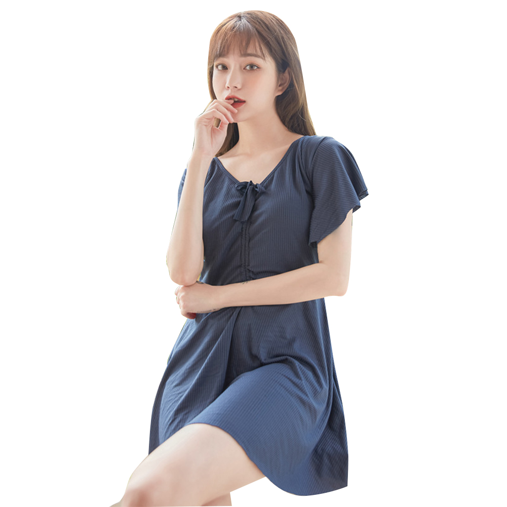 Women Swimsuit Solid Color One-piece Skirt Type High-waist Slimming Swimsuit Navy_L
