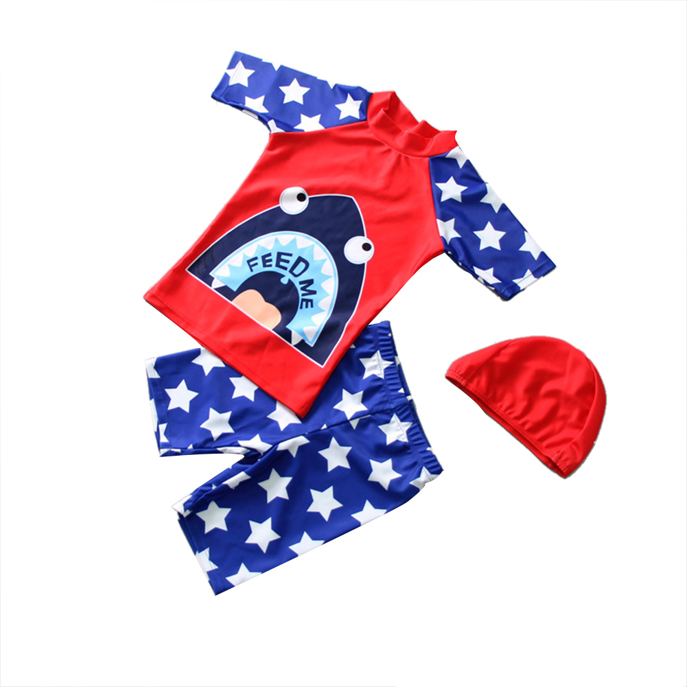 3pcs/set Boy Cute Swimming Suit Sunscreen Suit Tops + Shorts + Hat shark head_2XL