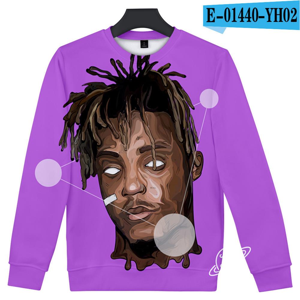 Men Women Sweatshirt JUICE WRLD Head Portrait Printing Crew Neck Unisex Loose Pullover Tops Purple_M