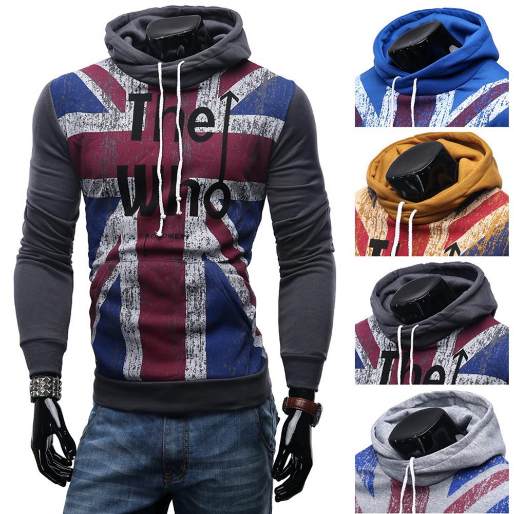 Men Streetwear Letter Printed Long Sleeve Men Sweatshirts Hooded Dark gray_2XL