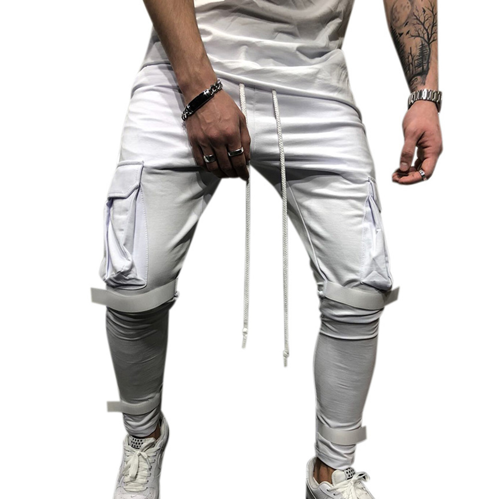 Men Side Pockets Soft Casual Pants with Magic Sticker Outdoor Trousers Gift Fitness Pants white_XL