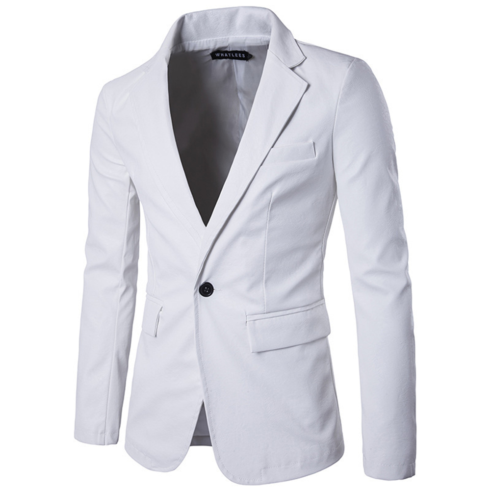 Men Spring Solid Color Slim PU Leather Fashion Single Row One Button Suit Coat Tops white_L