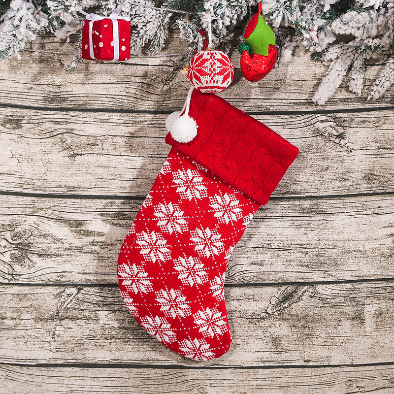 Knitting Wool Wave Christmas  Stockings With Snowflake Reindeer Pattern For Christmas Decorations W522E Snowflake Christmas stockings
