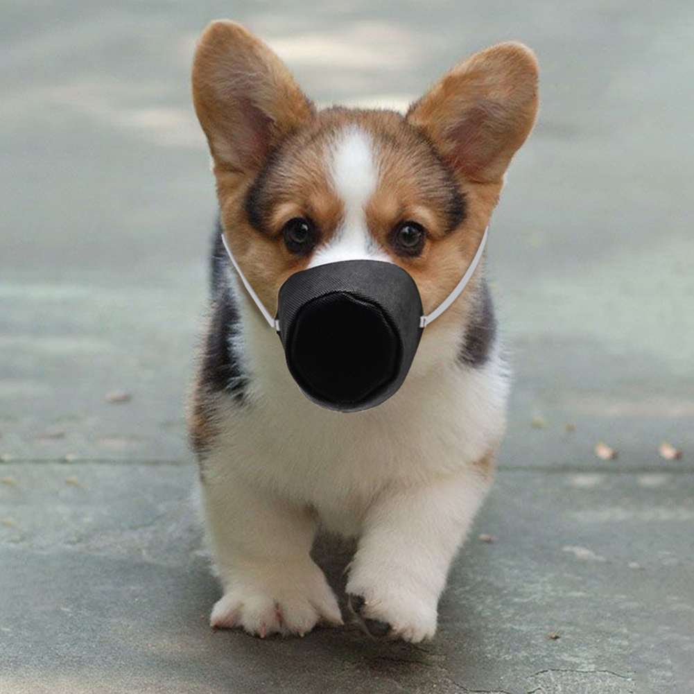 Pet Dog Mouth Mask PM2.5 Outdoor Dust-proof Anti-Air pollution Pet Face Cover Anti-fog Haze Masks For Dogs black_M