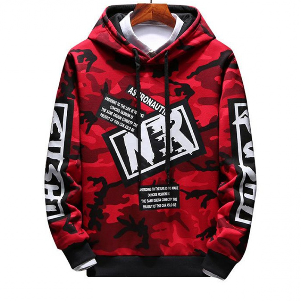 Unisex Hip-hop Style Fashion Camouflage Pattern Printing Stylish Hoody  Camouflage red_XL
