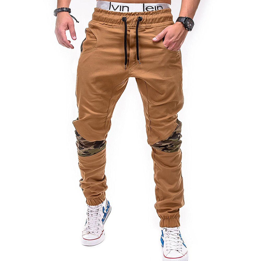 Men Fashion Camouflage Stitching Trousers Tight Trousers Foot Loose Casual Trousers  Khaki_L