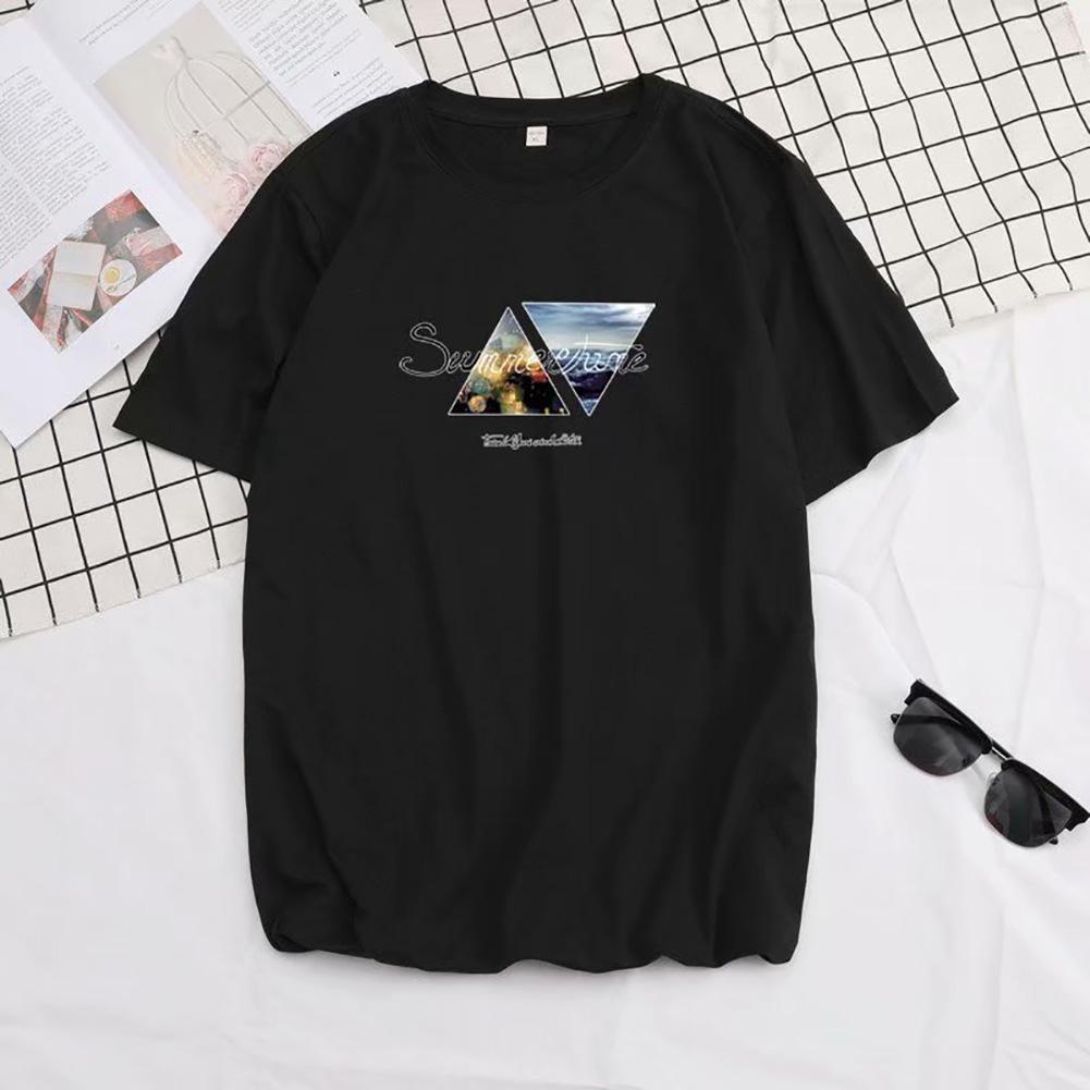 Men Summer Fashion Short-sleeved T-shirt Round Neckline Loose Printed Cotton Bottoming Top 2XL_614 black
