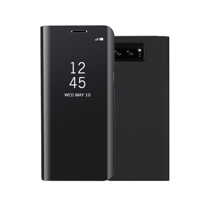 Fashion Shockproof  Ultra Thin Electroplating PU Case Cover Mirror Free Flip Anti-scratch Protective Case for Samsung Galaxy Note 8 Black