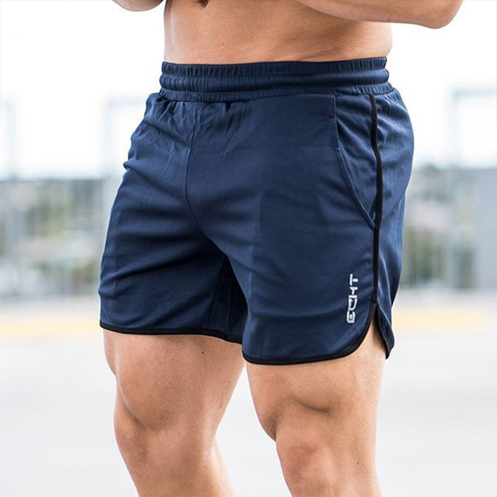 Men Sports Short Pants Quick-drying Elastic Cotton Leisure Pants Navy blue_XXL