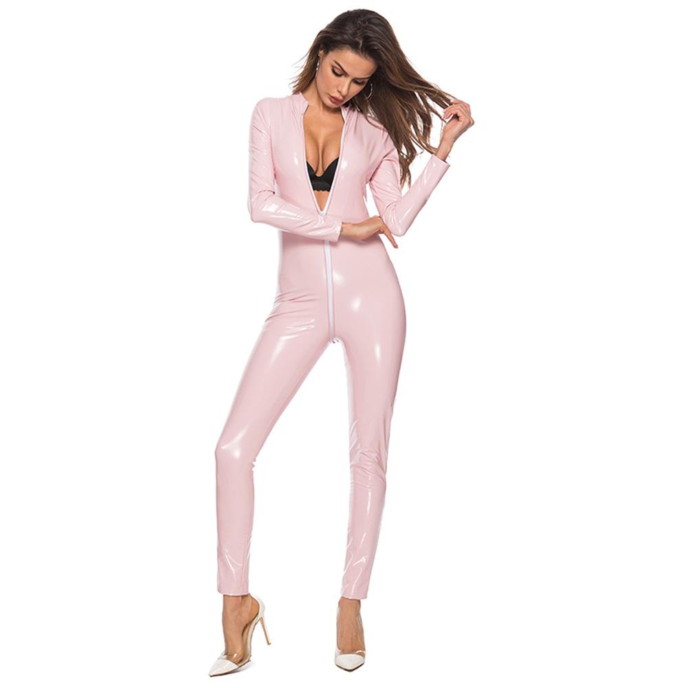 PVC Latex Tights Jumpsuit Wetlook Bodysuit Open Bust Crotchless Faux Leather Catsuit Pink_M