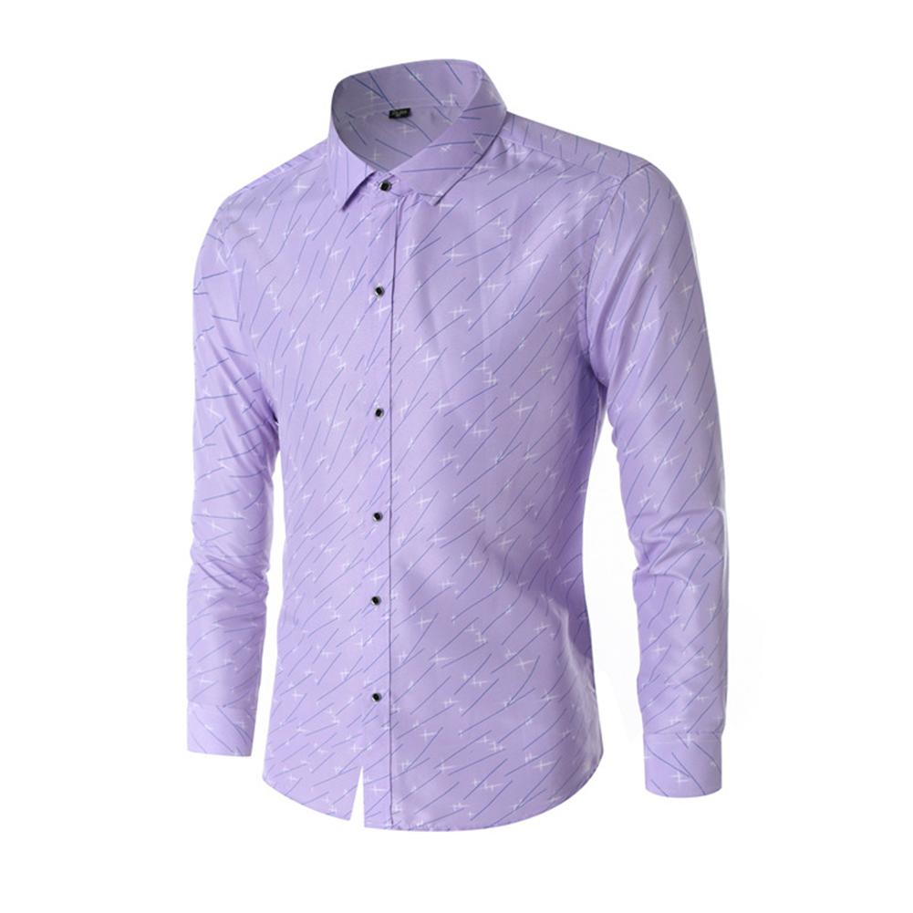 Young Men Long-sleeve Shirt Love Printing Shirt purple_L