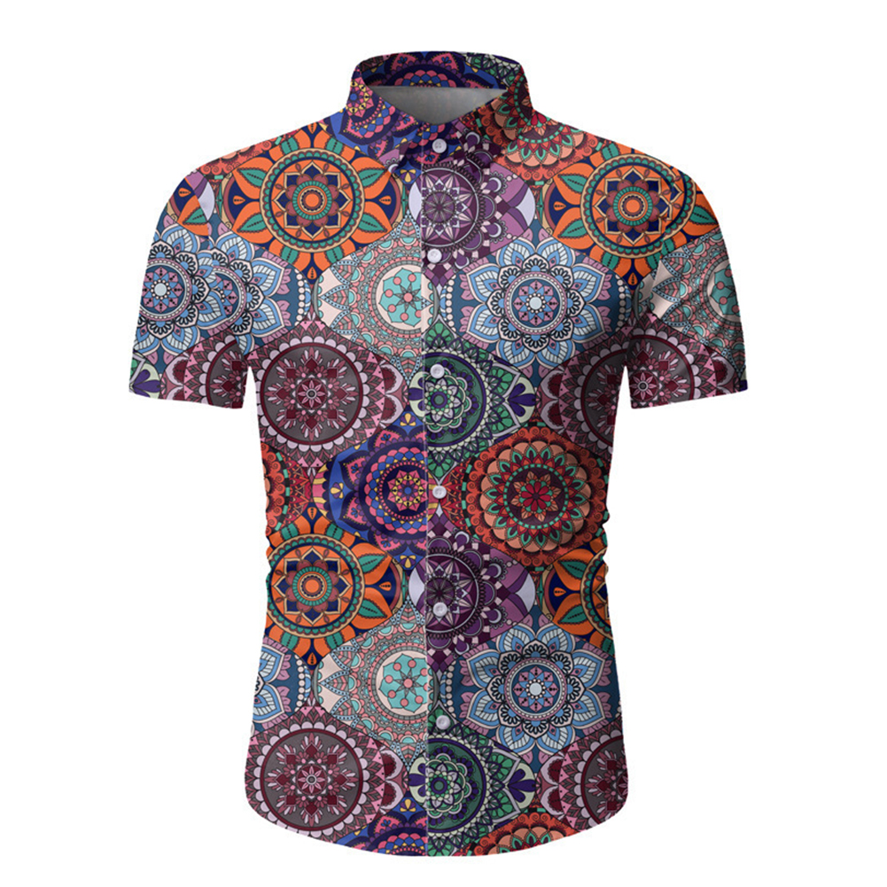 Single-breasted Shirt of Short Sleeves and Turn-down Collar Floral Printed Top for Man As shown _L
