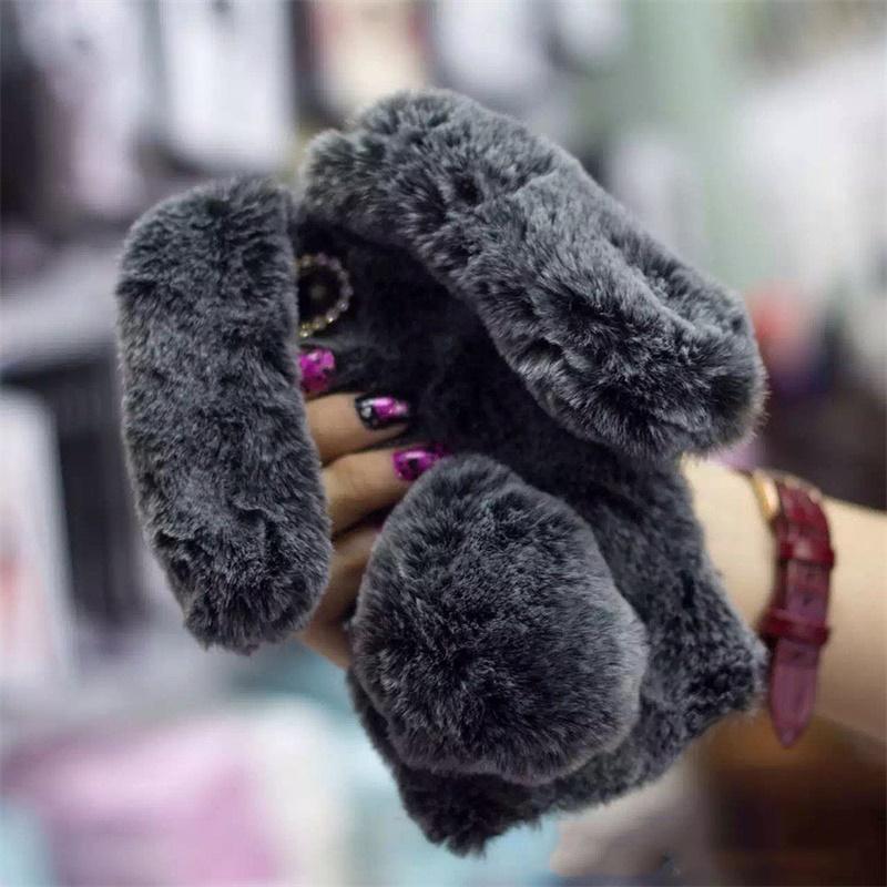 Cute Rabbit Soft Plush Phone Case for iPhone dark gray
