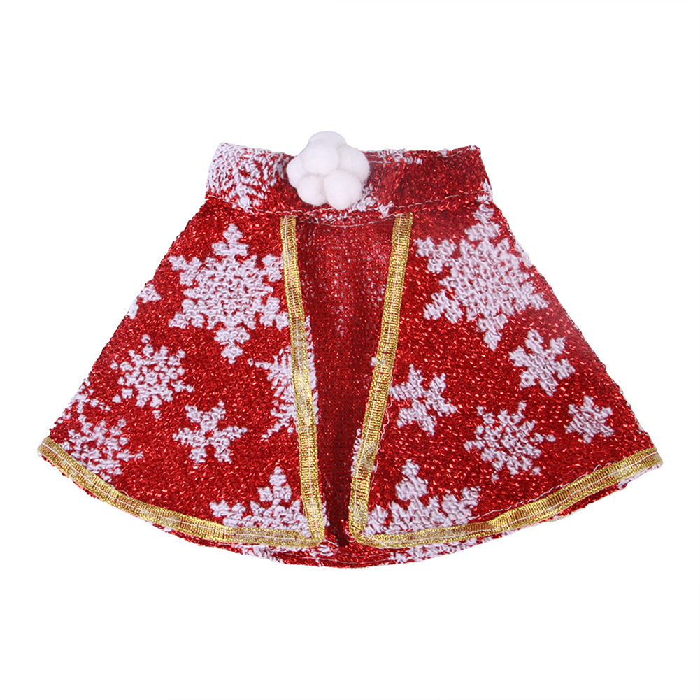 Halloween Christmas Pet Cape Cloak Puppy Cat Outfit Dress Up Coat Costume Red snowflake_L