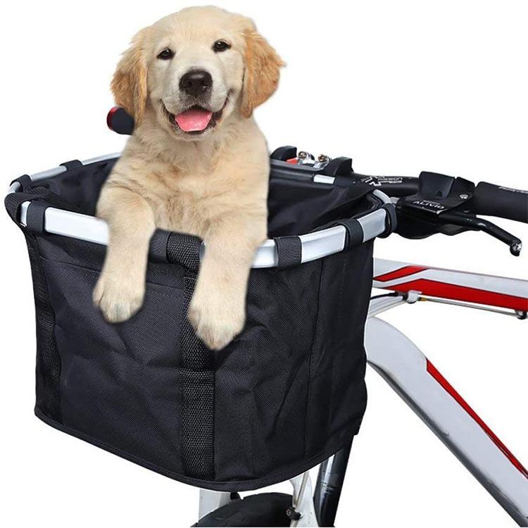 Bike Basket Folding Small Pet Carrier Front Removable Bicycle Handlebar Basket Detachable Cycling Bag Black