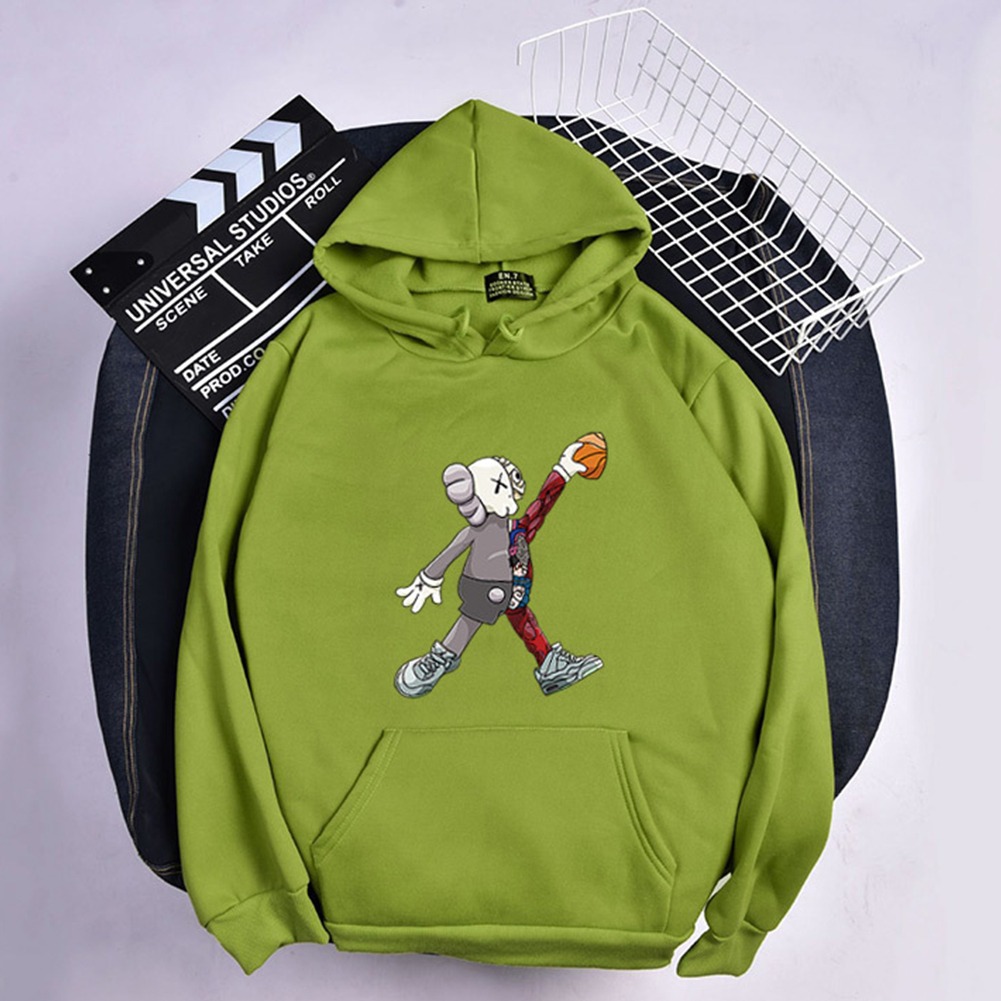 KAWS Men Women Hoodie Sweatshirt Cartoon Walking Doll Thicken Autumn Winter Loose Pullover Green_XXXL