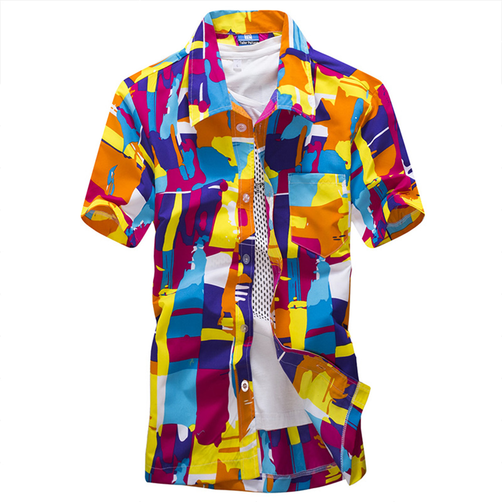 Men Fashion Shirt Summer Floral Printed Beach Shorts Sleeve Tops bright orange_XXL