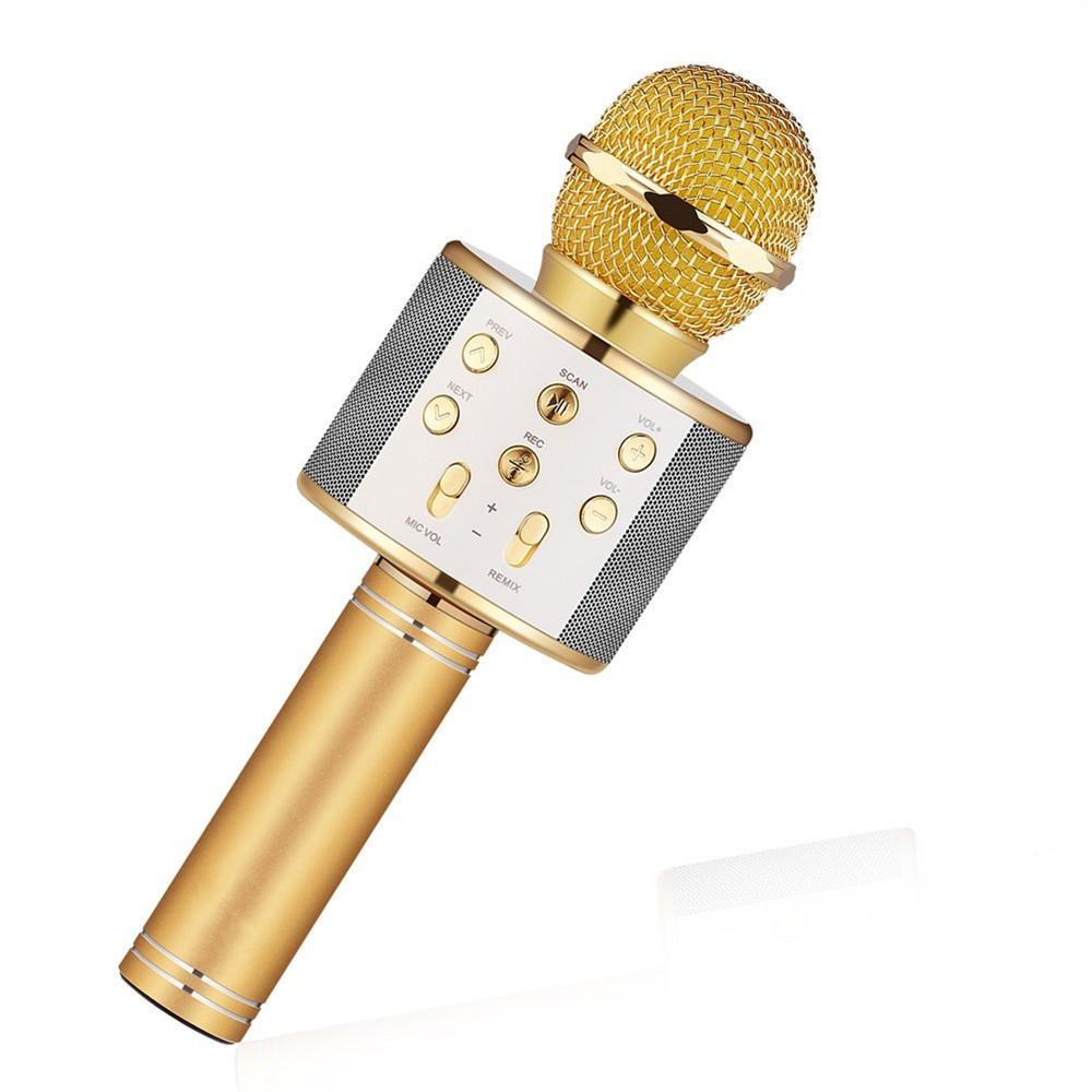 Bluetooth Wireless Condenser Magic Karaoke Microphone Mobile Phone Player MIC Speaker Record Music gold_Ws858