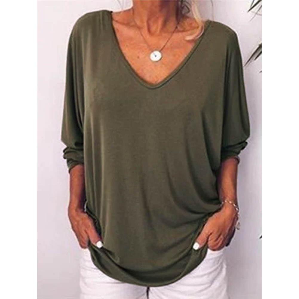 Women Summer Loose-sleeve V-collar T-shirt with Back Button ArmyGreen_S