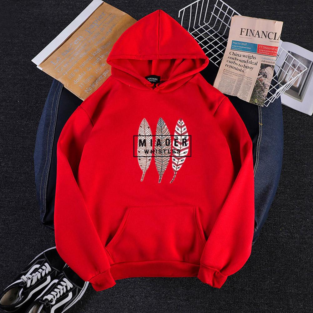 Men Women Hoodies Oversize Sweatshirt Loose Thicken Plush Autumn Winter Pullover Red_L