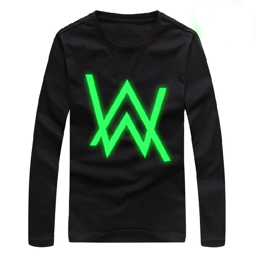 Unisex Letters Night Light Printing Casual Soft Cotton T-shirts W type_L