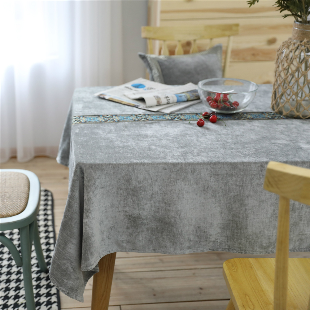 Flannelette Embroidery Table  Cloth Decorative Fabric Table Cover For Living Room Kitchen 90*90cm