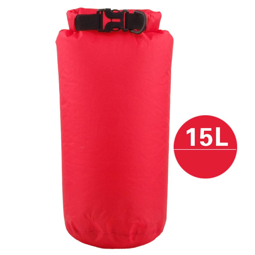 Outdoor Bag Camouflage Portable Rafting Diving Dry Bag Sack PVC Waterproof Folding Swimming Storage Bag for River Trekking Scarlet (15L)_15L