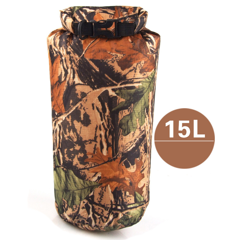 Outdoor Bag Camouflage Portable Rafting Diving Dry Bag Sack PVC Waterproof Folding Swimming Storage Bag for River Trekking Camouflage (15L)_15L
